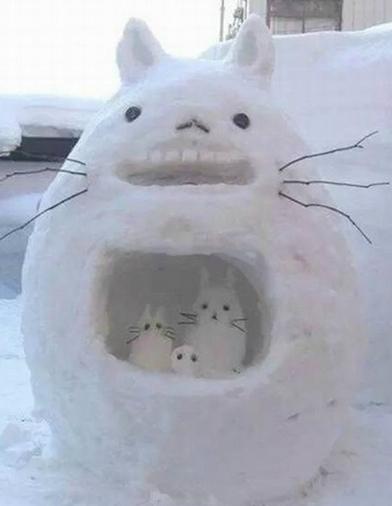 惟妙惟肖冰雪龙猫创意恶搞图片