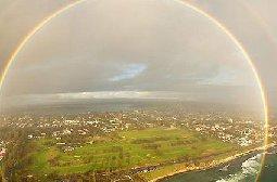 尼亚加拉大瀑布上出现的全圆形彩虹