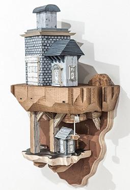 木雕与房子巧妙组合创意插画图片