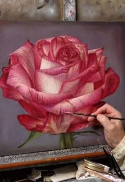 艺术家手绘超逼真花朵图片欣赏
