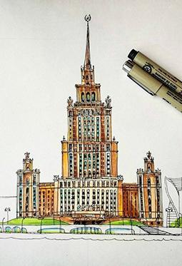 彩铅手绘精美细致建筑物图片大全