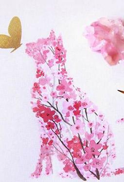 手绘樱花主题动物水彩插画图片