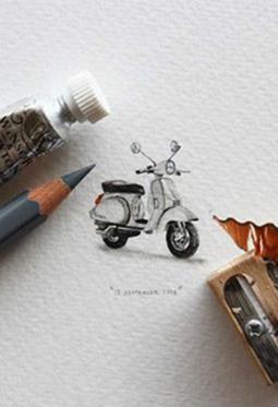 铅笔创意手绘超逼真微缩彩画图片