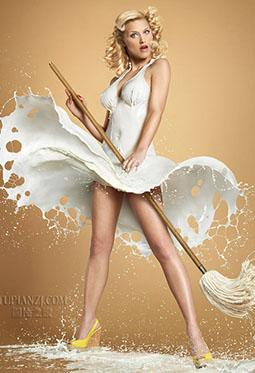 精选欧美创意牛奶装人体艺术图片