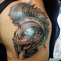 男生手臂创意斯巴达霸气纹身图片
