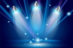 舞台上梦幻的蓝色聚光灯背景图片