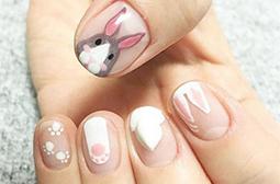 精选可爱卡通兔子贴图美甲图片