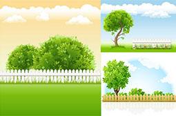 清新护眼卡通植物绿色背景图片赏析