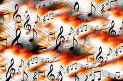 跳动的五线谱乐符怀旧文艺背景图片