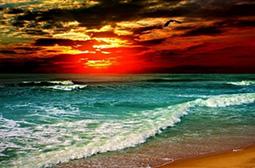 美丽的海边夕阳晚霞云彩自然风景图片