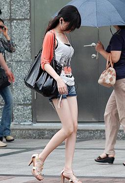 重庆街拍细长腿美女极品美腿图片合集